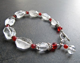 Rock Crystal Statement Bracelet, Chunky Clear Rock Crystal Quartz, Ruby, Quartz Nuggets, Semi Precious, Crystal 1057