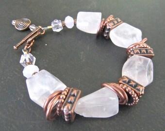 Rose Quartz Statement Bracelet, Chunky Pink Quartz Nuggets, Colour of the Year, Antique Copper, Big Bold Bracelet, Natural Stone 1059