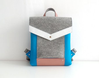 Blue Gray White Pink Wool Felt Genuine Leather Backpack