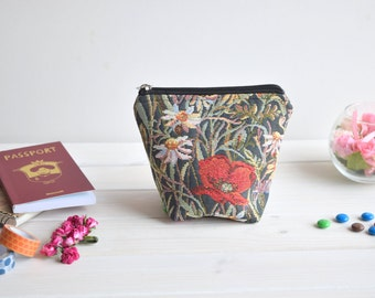 Zipper makeup bag,  Small cosmetic case,  Make Up Pouch,  makeup pouch,   Zip up coin pouch