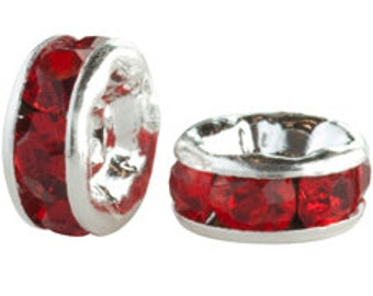 Package of 25 Silver Plated 6mm Rondelles in Light Siam Red (sku 3728 - CCR-SP-6-LSI)