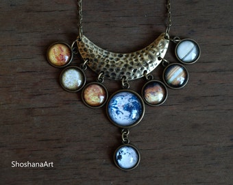 Planet necklace, Solar system necklace, Planet pendant, Crescent moon, Boho Gypsy necklace, Galaxy necklace, Space jewelry, Gift for her
