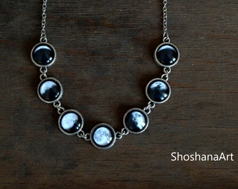 Moon phase necklace Lunar Phases Jewelry Glass Dome Statement Necklace Glass dome necklace Space jewelry Moon phases Planet Gift For Her