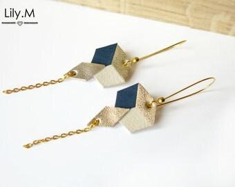 Earrings, Geometric Leather, Night blue and gold TARA