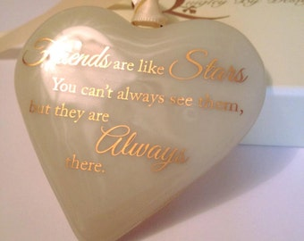 "Fused Glass Heart with 22 carat Gold Text ""Friends are Like Stars"""
