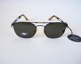 Daytona Safilo black vintage Italian sunglasses 1990s slim aviator style