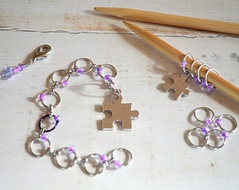 Puzzled / Abacus Style Knitting Row and Round Counter with Optional Stitch Marker Set