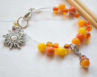 Sunset / Knitting Row Counter Bracelet / Abacus Bracelet / Knitting Bracelet