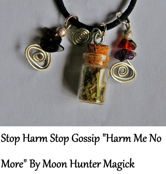 Stop Harm Binding Stop Gossip Charm Bottle Amulet Necklace Pagan Wicca Reiki Ritual