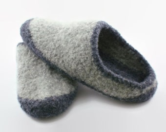 Mens two-tone gray felted wool slippers Size 9