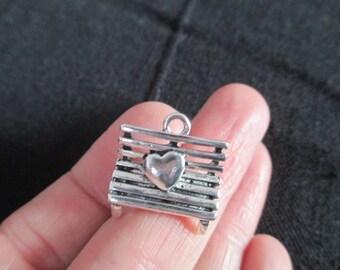 5 Love Bench charm 20mm x 19mm Tibetan Silver 3D pendant