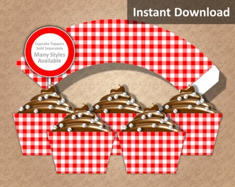 Red Gingham Cupcake Wrappers, Farm Party Decorations, Country Party Decorations, Printable, Instant Download