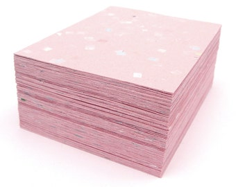 Pink handmade paper cardstock, cut edges, recycled with embedded confetti, 10 small sheets, A2 card size