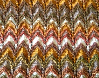 Handmade knit throw afghan lap blanket Ooak unique womens designer rippled crochet chair cover bed spread hippie browns golds fall autumn