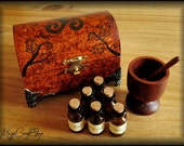 HERBS SET with wooden box, six glass bottles, mortar and pestle, herbs of your choice - the perfect set for the perfect witch