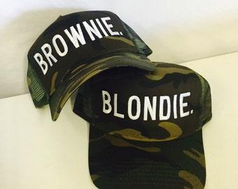 Blondie and Brownie Trucker Snapback Camo Best Friends Strap back Hat Blonde Brunette