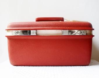 RED Aspen Train Case Overnight Samsonite JC Penney Vintage Cosmetic Travel Luggage