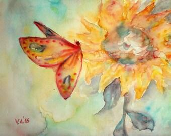 ORIGINAL watercolor flower, watercolor butterfly, original watercolor painting, flower painting, butterfly painting, sunflower painting