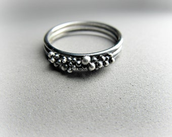 Pebbles Stacking Ring in Sterling Silver
