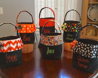 Personalized Halloween Bag.  Boy or Girl Halloween Treat Bag.  12 Prints To Choose From.  Name Embroidered For Free