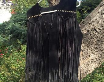 SALE Vintage Black Suede Fringe Hippie Leather Vest with Fringe