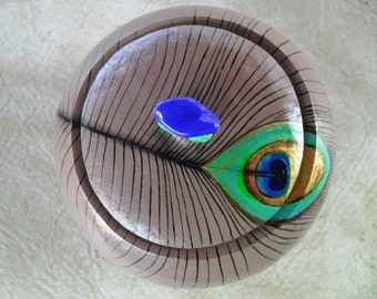 Peacock Feather Gourd Bowl OOAK