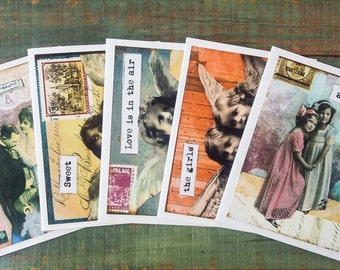 """Vintage Girl Notecards, Set of 5 cards, CLEARANCE, Mixed Media Art Cards, Photo Collage Cards, Vintage women, 4.25x5.5"""" eco-friendly, Set B"""