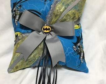 Custom Blue Classic Batman Vintage DC Wedding Ring Bearer Pillow
