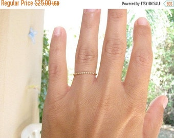 SALE - Thin gold ring -  Beaded ring - thin balls ring - Stacking ring - Slim stacking ring - Slim ring - Gold filled ring, (7)