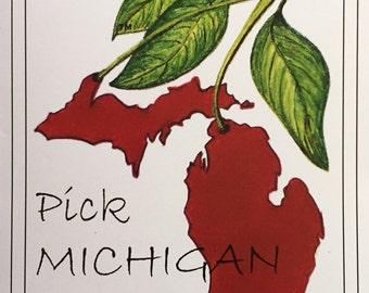 """Watercolor Cards-6pk- """"Pick Michigan""""TM"""