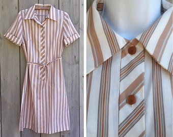 Vintage dress | Striped shirtwaist shift dress with matching fabric sash