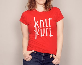 KNIT PURL MIRRORED Logo funny T-shirt Men's and Ladies Sizes