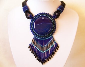Statement Beadwork necklace - Bead Embroidery Pendant Necklace with Blue Agate - BLUE PARADISE - blue, mint and black - fringe necklace