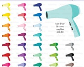 Hair Dryer Icon Digital Clipart in Rainbow Colors - Instant download PNG files