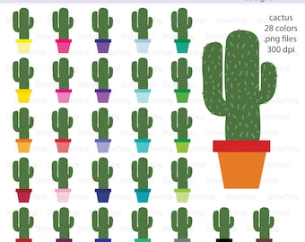 Cactus Icon Digital Clipart in Rainbow Colors - Instant download PNG files