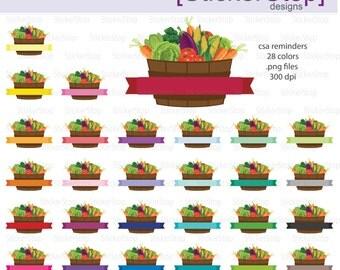 Basket of Vegetables CSA Reminder Digital Clipart - Instant download PNG files - basket of veggies
