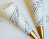 Custom order 80 gold tip gothic book page confetti cones