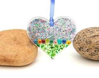 Fused Glass Heart Suncatcher - Ornament