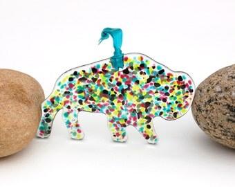 Fused Glass Buffalo Ornament, Fused Glass Buffalo Suncatcher