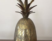 """9 1/2"""" Vintage Brass Pineapple Container"""