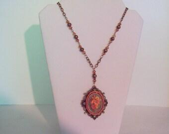Flower Basket Cameo Necklace - Victorian Style- Filigree - Swarovski Crystals