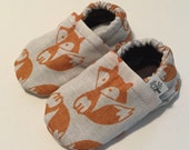 Crib Shoes, Little Fox, Soft Sole Booties, Gender Neutral, Woodland, Orange, Baby Shoes, Baby shower gift, Newborn to toddler
