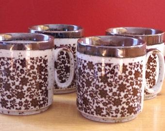 Vintage 1960s Ceramic Coffee Mugs with Brown Flowers