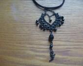 black gothic pendant necklace, ecofriendly goth necklace