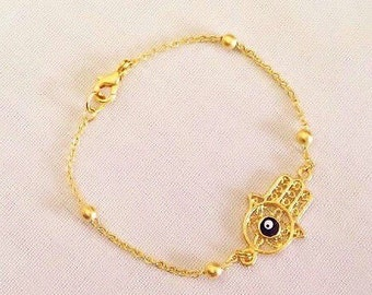 Gold Plated Hamsa Hand Bracelet, Evil Eye Hand of Fatima, Hamsa Charm, Fatma's Hand  Jewelry, Kids Jewelry, Gift for Kids, Amulet, Good Luck