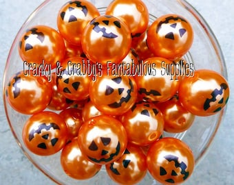 20mm Pearl Pumpkin Jack-O-Lantern Print  -  Chunky Necklaces - Set of 10 - Halloween Print Pumpkin Carved Pumpkin Jack O Lantern