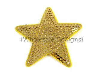 "Gold Star Applique - Sequined Appliques - 2"" - Sequin - Gold Stars - 5 Pieces"