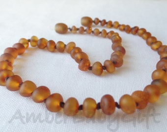 Raw Unpolished Baltic Amber Teething Necklace, Amber Necklace, Cognac Amber