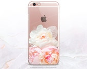 iPhone 7 Peonies Clear Rubber Case iPhone 7 Plus Clear Case iPhone 6 Clear Case iPhone 6S Case iPhone SE Case Samsung S7 Edge Case U145