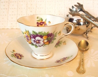 Teacup and Saucer Set | 1950's Clarence Fine Bone China England 'Viola Time' Tea Cup Purple and Yellow Floral with Gold | Gift for Her